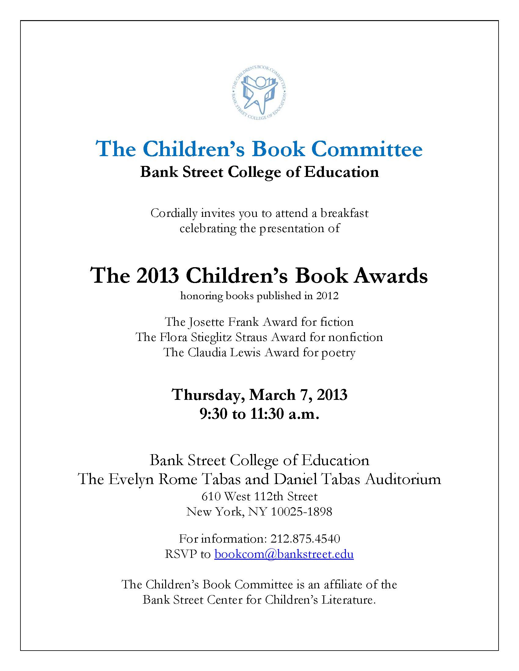 2013 childrens book awards bank street college center for cbc 2013 awards ceremony invitation stopboris Gallery