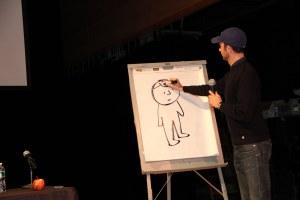 Jon sketches sans blindfold