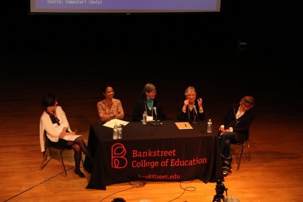 Our distinguished panel: L to R, Moderator Susan Stires, Nina Crews, Jean Marzollo, Robie Harris, and Amy Hest