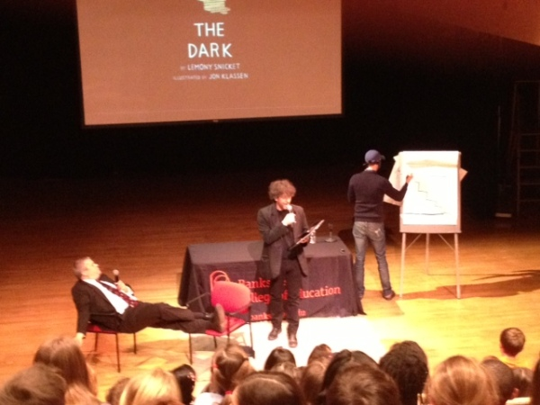 Jon sketches blindfolded while Daniel does his best impression of Neil Gaiman