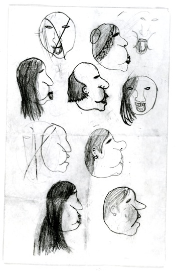 An 8-year-old Kevin practiced drawing portraits from every angle