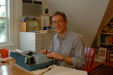 Kevin Henkes writes by hand, then types his manuscript on a typewriter!