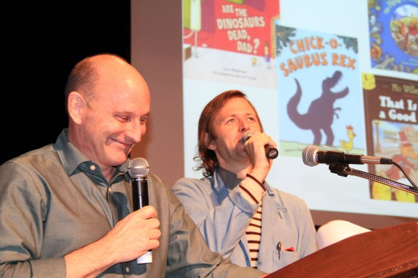 Keynote speakers Jon Scieszka and Mac Barnett, co-authors of Battle Bunny, and also both previous Irma Black Award honorees, bring the house down.